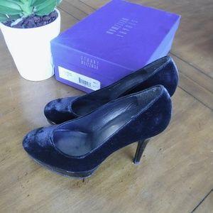 Stuart Weitzman Shoes - Stuart Weitzman Rowswoon Smoke Velvet Heels 6
